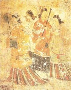 Стенная роспись гробницы Токамацу-дзука. 6 век. Япония