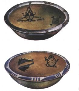 Сосуды с антропоморфным и зооморфным орнаментом. Ill тыс. до н.э.