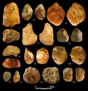 Палеолитические орудия, найденные в 2008 году в Гуанси (юг Китая).