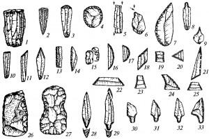 Орудия из камня мезолита
