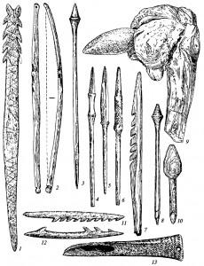 Костяные и деревянные орудия мезолита