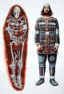 Реконструкция костюма мужчины 40-50 лет из погребения Сунгирь-1.