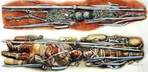 Реконструкция погребение мальчика и девочки из захоронения Сунгирь-2 и Сунгирь-3.