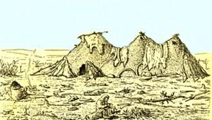 Реконструкция жилища с тремя очагами со стоянки Пушкари I.
