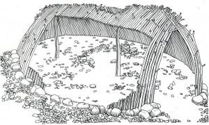 Реконструкция жилища охотников. 400 тыс. лет назад. Терра-Амата, юг Франции.