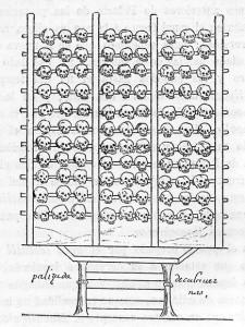 Цомпантли из манускрипта Диего Дюрана, XVI век.
