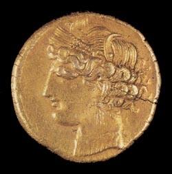 Финикийская монета. Карфаген. 260-240 гг. до н.э.