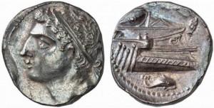 Карфагенская монета из Испании. Ок. 228 г. до н.э.