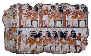 Пир. Фрагмент фрески из гробницы Небамун. 1400 г. до н.э.