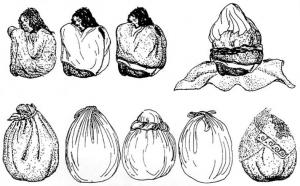 Процесс заворачивания мумии в платянной мешок.