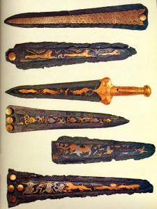 Кинжалы со сценами охоты из гробниц Микен.