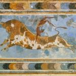 """""""Игры с быком"""". Фреска из Кносского дворца."""