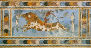 """""""Игры с быком"""". Фреска из Кносского дворца"""