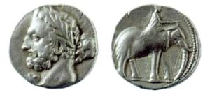 Карфагенская монета 237-227 гг. до н.э. Предположительно изображен Гамилькар Барка.