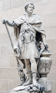 Ганнибал считает кольца убитых в битве римских всадников, статуя Себастьена Шлодтца, 1704, Лувр, Франция.