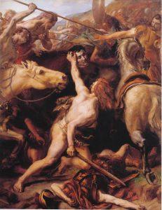 Дукарий обезглавливает римского генерала Фламиния в битве при Тразименском озере. Автор Жозеф-Ноэль Сильвестр, 1882 г. Хранится Музей изобразительных искусств де-Безьер, Франция.