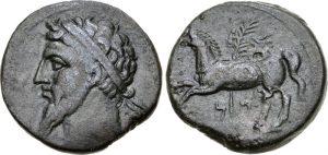 Монета с изображением Масинисса. Ок. 203-148 гг. или 148-118 гг. до н.э.