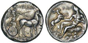 Монета Мессаны. Тетрадрахма ок. 420-413 до н.э.