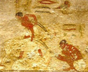 Росписи стен гробниц XII династии. Гробницв Хнумхотепа 2. Пастух с антилопами.