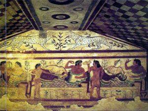Сцена пира этрусков. Гробница Леопардов в Тарквиниях. V в. до н.э