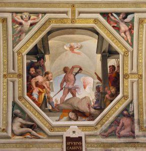 Казнь Спурия Кассия (по одной из легнед казнен отцом). Фреска в Палаццо Пабблико, Сиена. 1529-1535 гг.