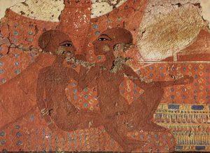 Младшие дочери Аменхотепа IV. Фрагмент росписи нижней части стены дворца в эль-Амарне. Оксфорд, Эшмолеанский музей.
