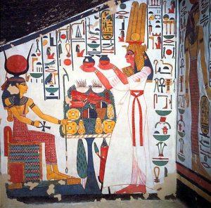 Нефертари и богиня Исида. Фресковые росписи гробницы Нефертари. XIX династия. Первая половина XIII в. до н.э. Долина Цариц, Фивы.