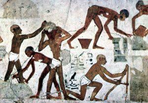 Сирийские рабы делают кирпичи для мастерской-хранилищем Храма Амона в Карнаке в Фивах. Гробница визиря Рехимира, ок. 1450 г. до н.э.